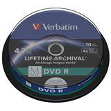 Носители информации VERBATIM M-DISC DVD R 4.7Gb 4x Cake 10 pcs Printable 43824